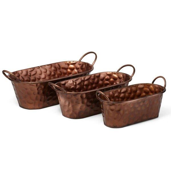 Distinctively 3-Piece Iron Pot Planter Set by Benzara