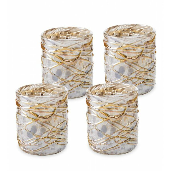 Frisby Shimmers Swirled Recycled 9 oz. Glass (Set of 4) by Bloomsbury Market