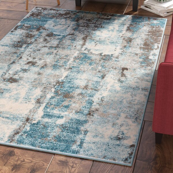 Elkhart Ivory/Turquoise Area Rug by Ebern Designs