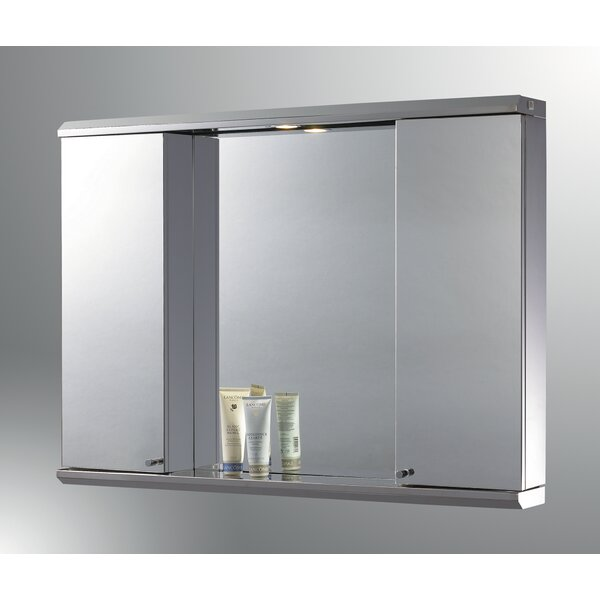 Lawless Edge Mirror Door 28 x 29 Recessed Frameless Medicine Cabinet and LED Lighting by Latitude Run