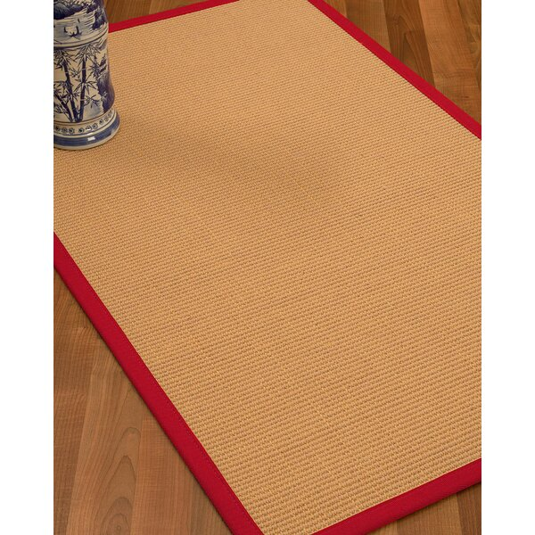 Lafayette Border Hand-Woven Wool Beige/Red Area Rug by Bay Isle Home