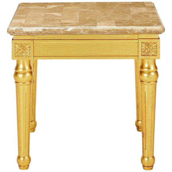 Swink Marble Top Fluted Detail Wooden Turned Legs End Table By Astoria Grand