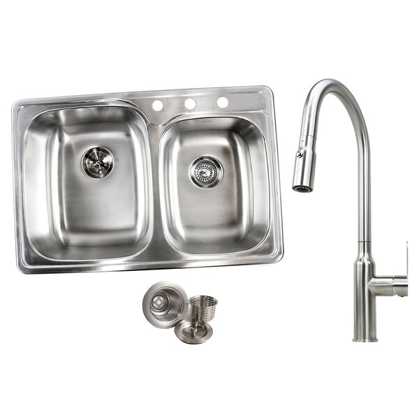 33 x 22 Double Basin Drop-In Kitchen Sink with Faucet by eModern Decor