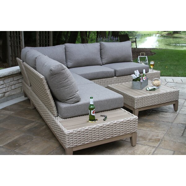 Rex 5 Piece Rattan Sectional Seating Group with Cushions by Beachcrest Home