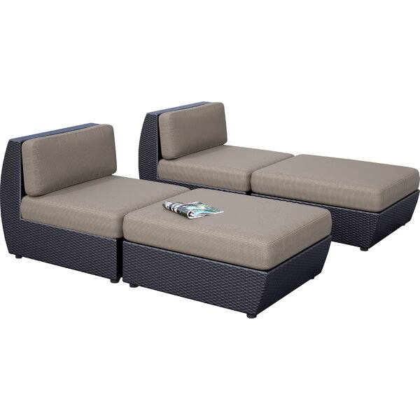 Seattle 4 Piece Chaise Lounge Set with Cushion by dCOR design