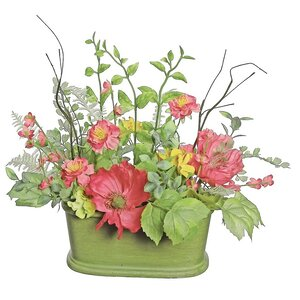 Poppy and Wildflower Artificial Floral Decoration Desk Top Plant in Pot