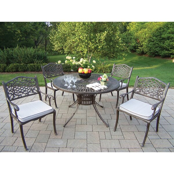 Robbinsdale 5 Piece Dining Set with Cushions by Fleur De Lis Living