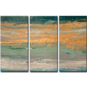 Sparkling Seas II 3 Piece Painting Print Set on Wrapped Canvas by Mercury Row