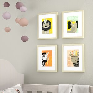 Gwen 4 Piece Explorer Animals Framed Paper Print Set by Viv + Rae