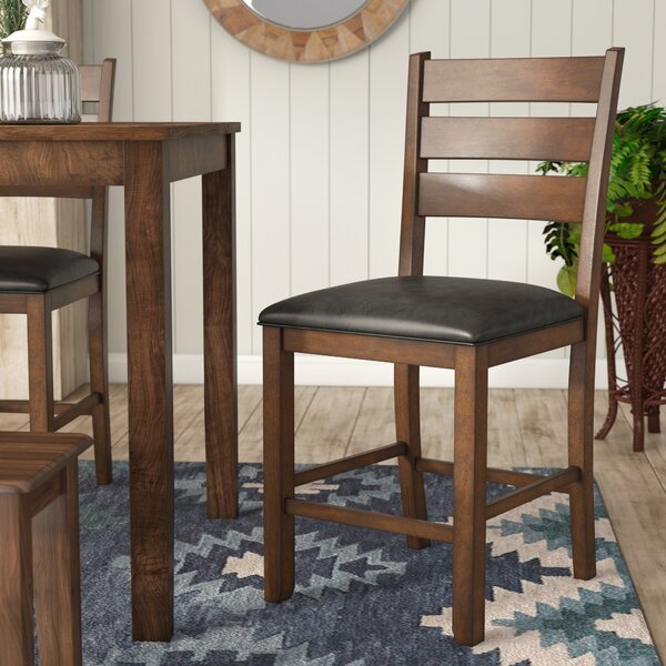 Osborne Slatback Upholstered Bar Stool (Set of 2) by Loon Peak