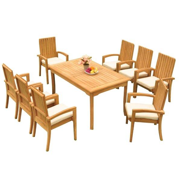 Webster 9 Piece Teak Dining Set Bayou Breeze W001959793