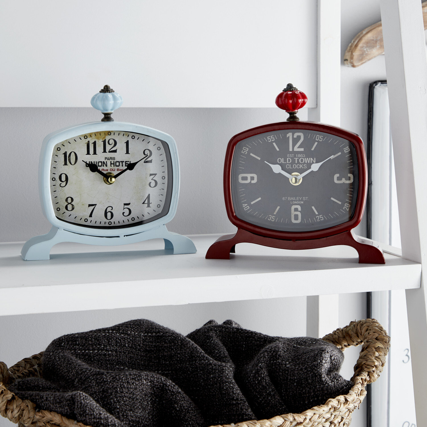 Analog Alarm Clock Home Decor Key Wound Side Table Accessory Bedroom Nightstand