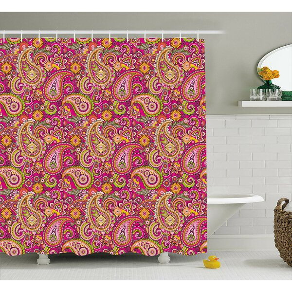 Flowers Dots Leaves Decor Shower Curtain by East Urban Home