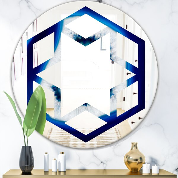 Slice of Crystal Hexagon Star Eclectic Frameless Wall Mirror