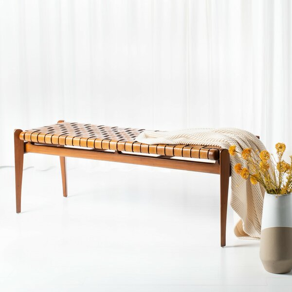 Emmaline Leather Bench by Mistana Mistana