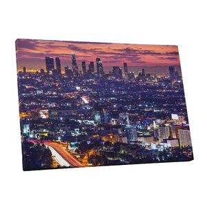 City Skylines Los Angeles at Dawn Photographic Print on Wrapped Canvas by Pingo World
