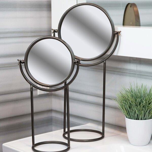 Georgio 2 Piece Round Metal Tiltable Tabletop Mirror Set by Bloomsbury Market