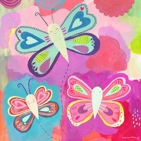 Butterfly Trio Canvas Art by Oopsy Daisy