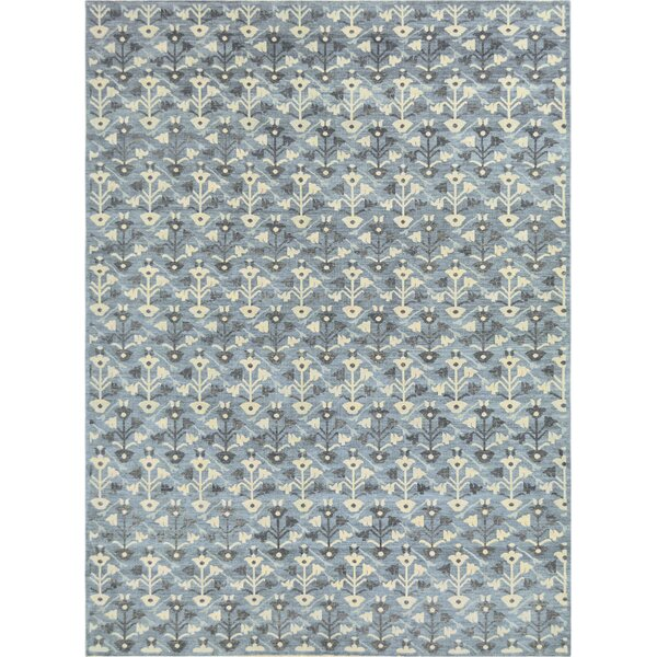 One-of-a-Kind Fine Handwoven Wool Blue Indoor Area Rug by Mansour