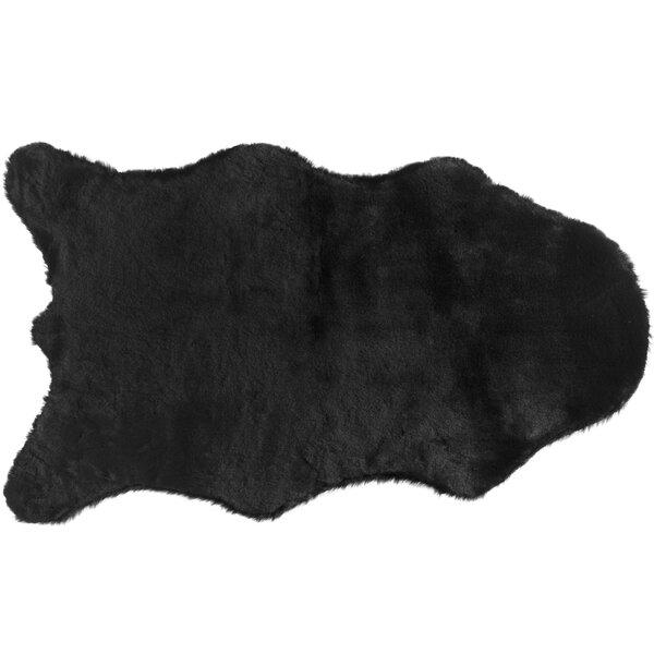 Quintero Faux Rabbit Fur Black Area Rug by Union Rustic