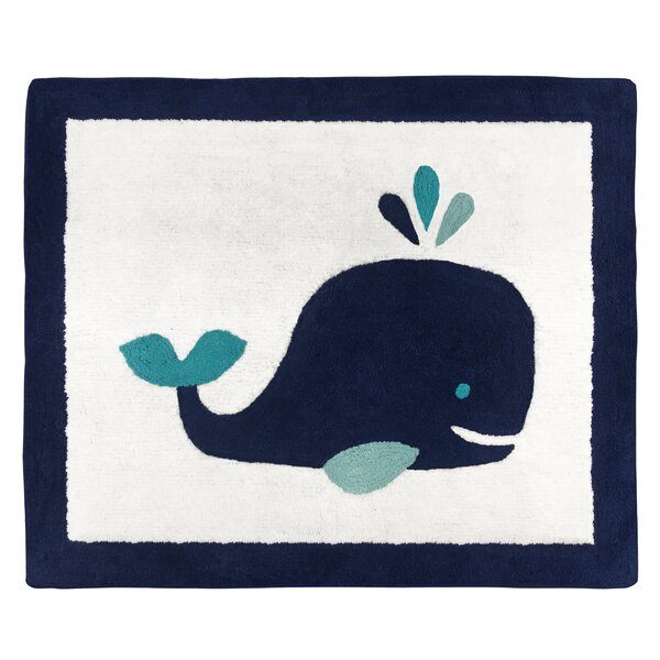 Whale Hand-Tufted Cotton Navy Blue/White Area Rug by Sweet Jojo Designs
