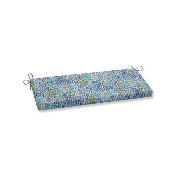 Make It Rain Cerulean Indoor/Outdoor Bench Cushion by Wrought Studio
