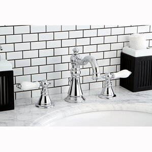 American Patriot Double Handle Widespread Bathroom Faucet With ABS Pop Up  Drain