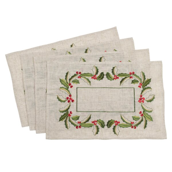 Embroidered Holly Holiday Placemat (Set of 4) by The Holiday Aisle