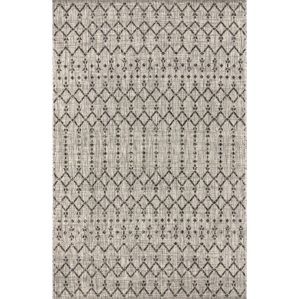 Azaiah Moroccan Geometric Textured Weave Light Gray Indoor/Outdoor Area Rug by Bungalow Rose Bungalow Rose