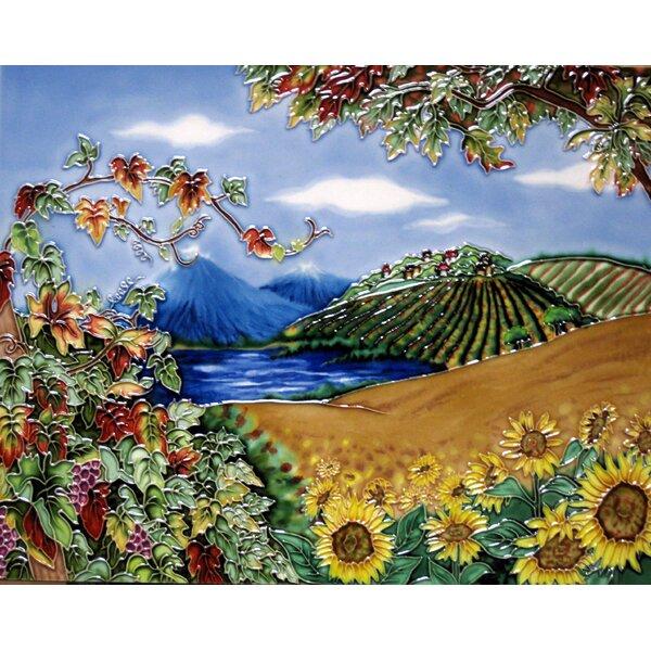Vineyard with Sunflower Field Tile Wall Decor by Continental Art Center