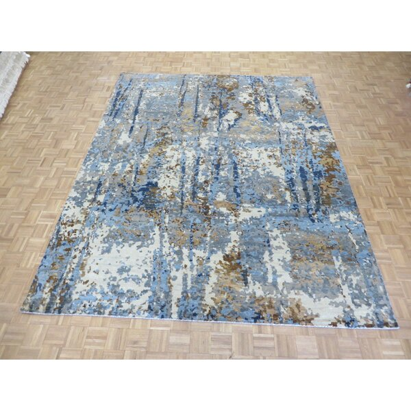 One-of-a-Kind Pellegrino Modern Abstract Hand-Knotted Wool Blue/Brown Area Rug by Bloomsbury Market