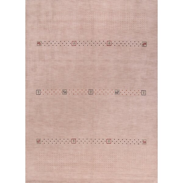 Fitchett Gabbeh Oriental Hand-Knotted Wool Beige/Ivory Area Rug by Bloomsbury Market