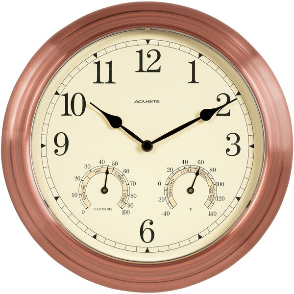 Copper Indoor/Outdoor 13 Wall Clock by Charlton Home