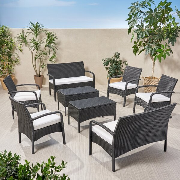 Lutton Outdoor 8 Piece Rattan Sofa Seating Group with Cushions by Brayden Studio