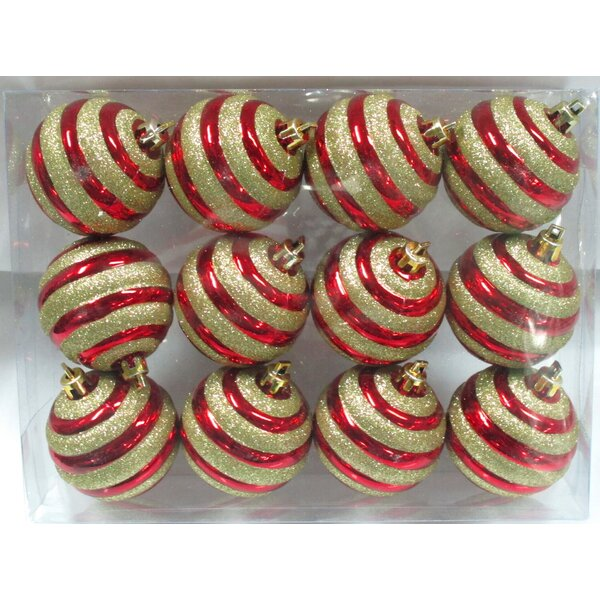 Red Ball Ornament with Gold Glitter Line Design (Set of 3) by The Holiday Aisle