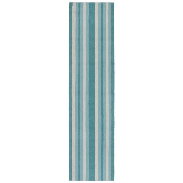 Cranford Stripe Hand-Tufted Blue/Beige Indoor/Outdoor Area Rug by Breakwater Bay