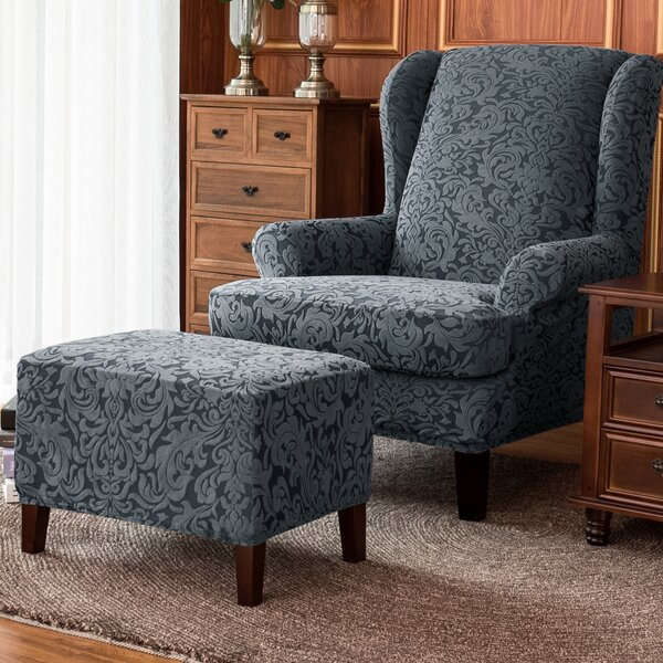 Damask Elastic Armchairs T-Cushion Wingback Slipcover By House Of Hampton