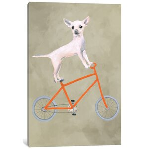 'Chihuahua on Bicycle' Painting Print on Canvas by East Urban Home