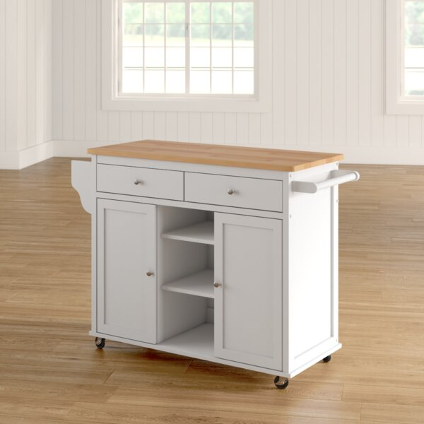 Brecht Kitchen Cart with Wood Top by Alcott Hill