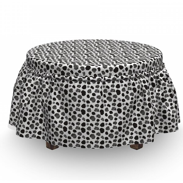 Cow Print Dots 2 Piece Box Cushion Ottoman Slipcover Set By East Urban Home