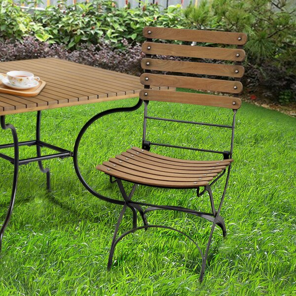 Rayne Folding Teak Patio Dining Chair by August Grove
