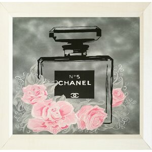 'Pink Roses Floral Chanel No. 5' Framed Painting Print by Buy Art For Less