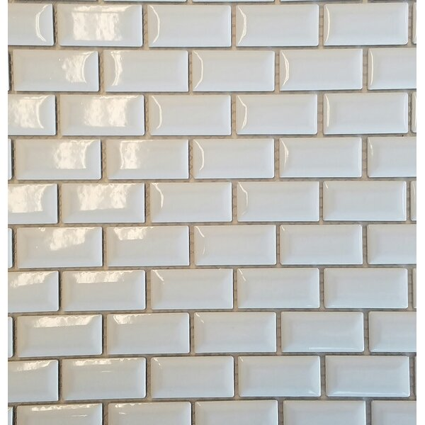 Mini 1 x 2 Porcelain Subway Tile in White by Vetromani
