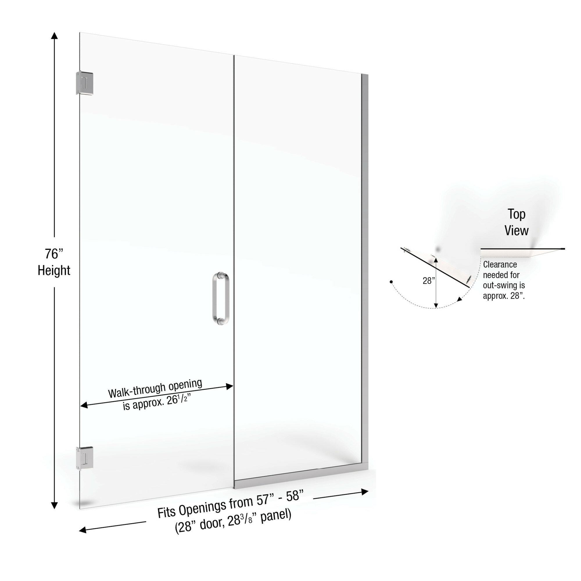 Basco Celesta 58 X 76 Hinged Adjustable Door And Panel Shower Door