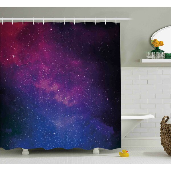 Stardust Space Rainbow Shower Curtain by East Urban Home