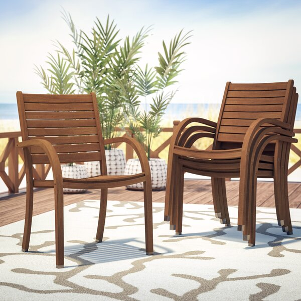 Frye Stacking Patio Dining Chair (Set Of 4) By Beachcrest Home by Beachcrest Home Today Sale Only