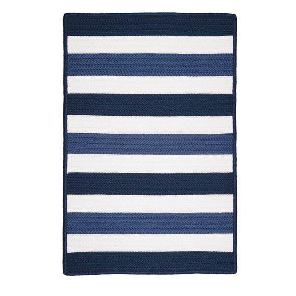 Eagle Lake Nautical Hand-Woven Blue Indoor/Outdoor Area Rug by Beachcrest Home