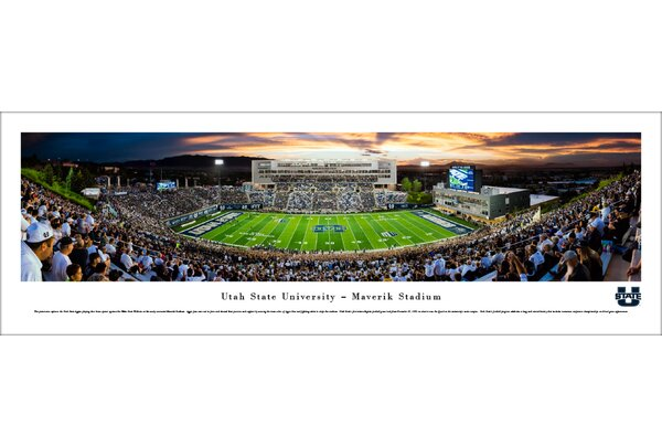 NCAA Utah State Football Stripe 50 Yard Line Photographic Print by Blakeway Worldwide Panoramas, Inc