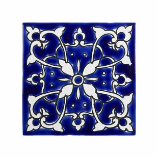 Mediterranean 4 X Ceramic Azur Decorative Tile In Blue White
