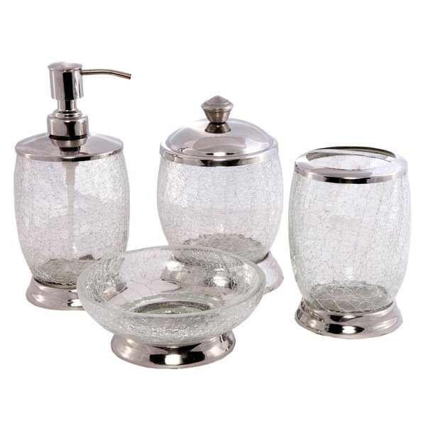 Contemporary Glass with Handwork 4 Piece Bathroom Accessory Set by CITY LINE COLLECTION
